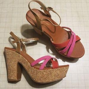 Matt Bernson Cork Platform Wedge Sandals size 10